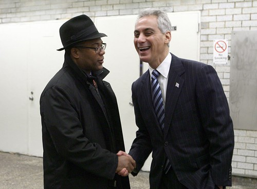 27th Ward Alderman Walter Burnett Jr. and Mayor Rahm Emanuel at an el station in Logan Square in December. Burnett says the city is now examining other sites for Obama College Prep.