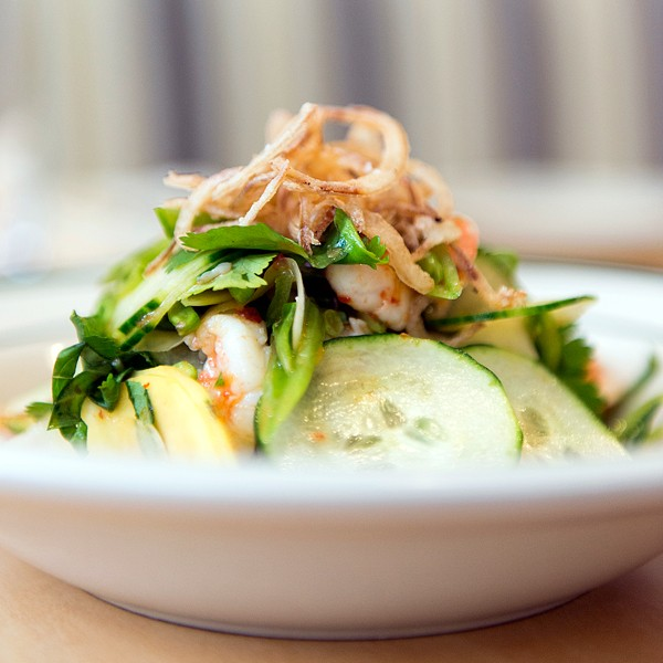 A green papaya salad with midwestern shrimp is delicately sweet, sour, and spicy.