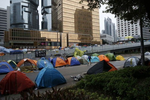 A line of tents in the occupied area outside government headquarters in Hong Kong