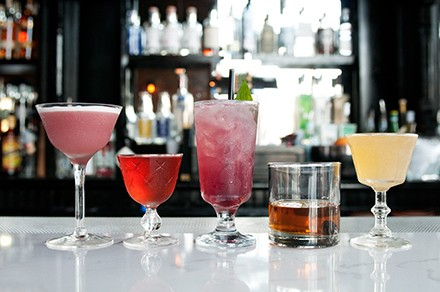 A lineup of Scofflaw's cocktails