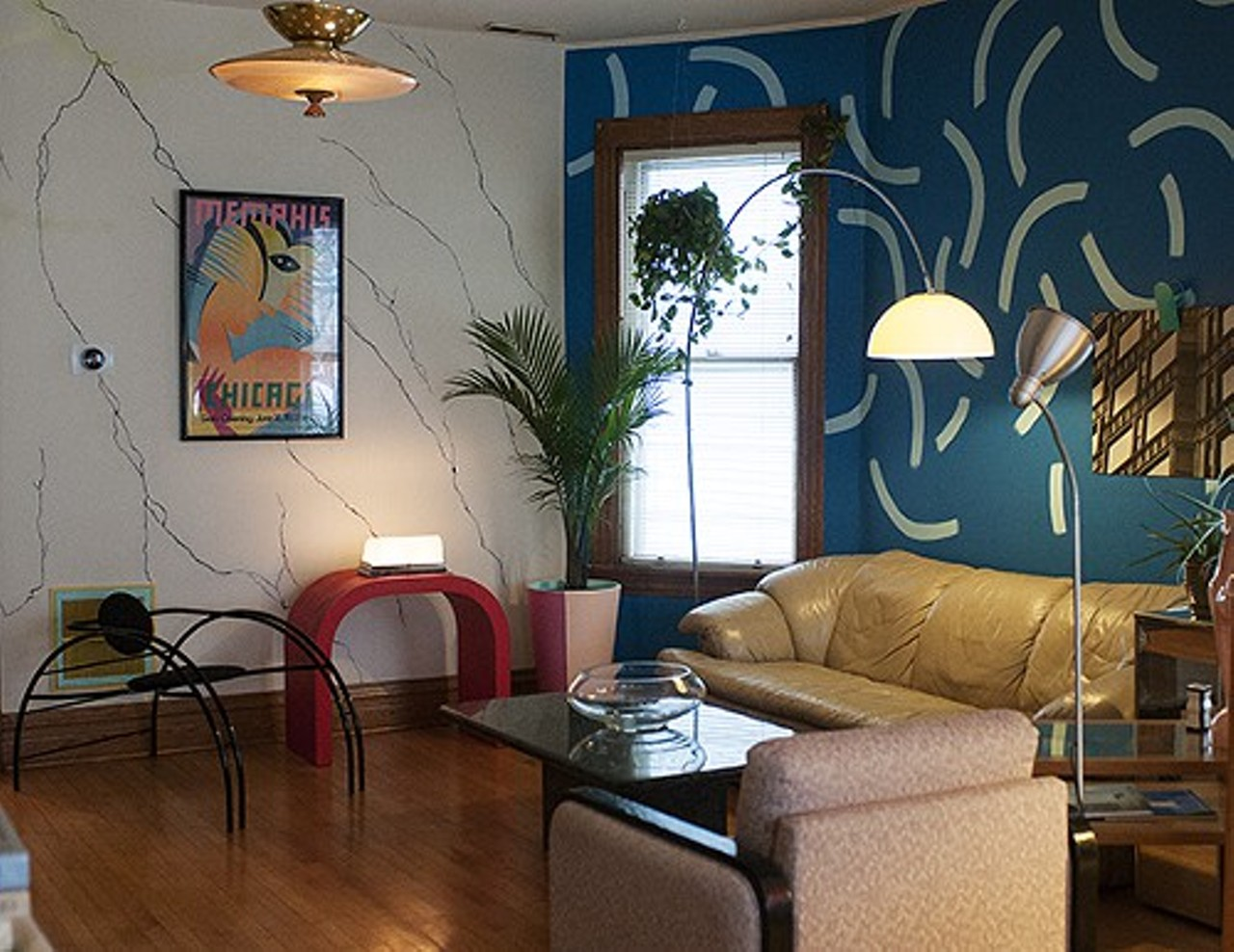 A logan square couple bask in the neon glow of their 1980s for Living room 80s