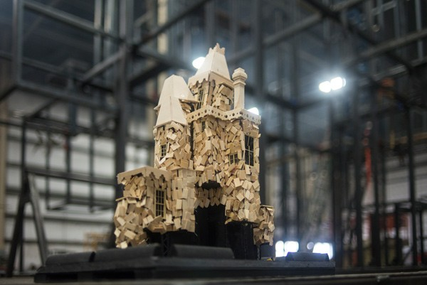 "A model of one of three Victorian ""houses"" to be torched as part of the festivities"