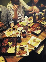 A modest spread of downscale booze graces the Bandits' table at Wicker Park's Bento Box - COURTESY OF BYO BANDITS