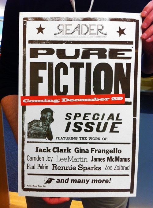 A poster of the December 2000 Pure Fiction Issue cover