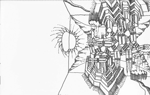 """A satirical architectural sketch, or """"architoon,"""" which Tigerman invented - STANLEY TIGERMAN"""
