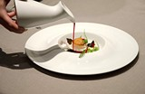 A seared-then-chilled scallop doused in a bloodred hibiscus tea - EILEEN MESLAR