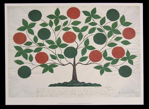 A Shaker gift drawing: The Tree of Life, Seen and painted by Hannah Cohoon. City of Peace Monday July 3rd 1854