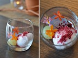 A spoonable cocktail features gin jelly strewn with powdered hibiscus and a sphere of cucumber-infused lime juice. - JEN MORAN