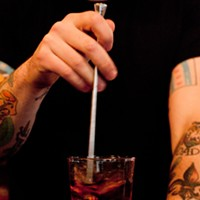 Bradley Bolt of Bar DeVille makes the Blind of Eye Add ice and stir. Andrea Bauer