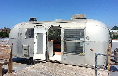 Airstream perched on top of Chicago Associates Planners & Architects