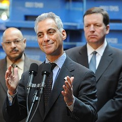 Alderman Joe Moore (right) has become a reliable backer of Mayor Rahm Emanuel.