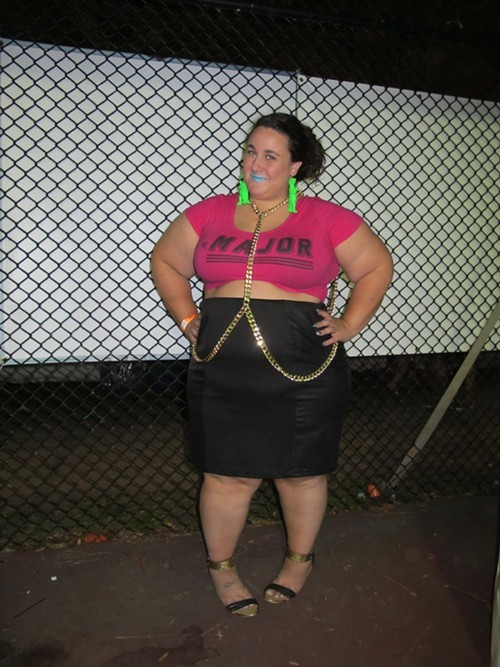 Alysse DAlessandro, was selling her Ready-to-Stare line at the Coterie. Why this look? I love wearing crop tops for summer and the body chain and the dino earrings were the perfect complements to the pink.