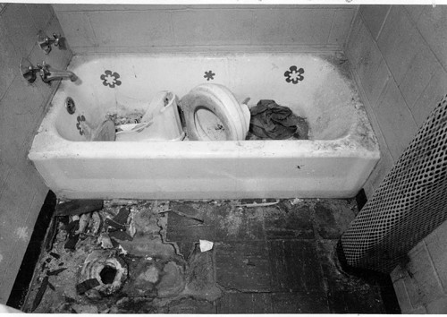 A bathroom in a vacant apartment in the Abbott Homes in 1991. Chicagos high-rise housing projects were often in disrepair.