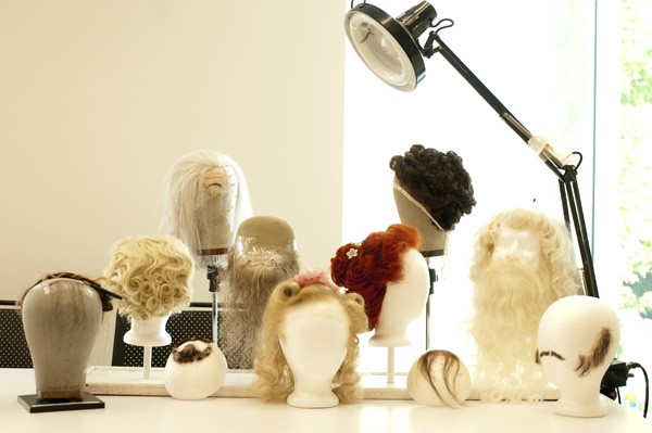 An assortment of wigs constructed strand by strand. Can you spot the yak hair?