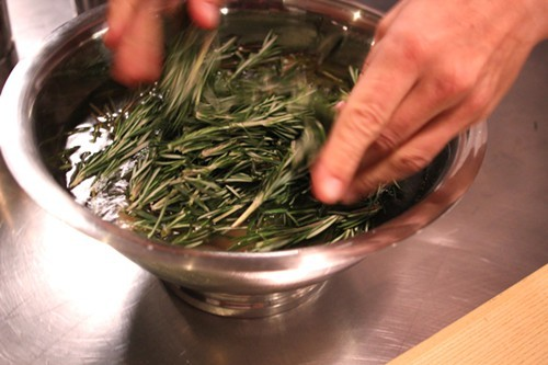 ...and then Dave Beran drops the rosemary into boiling water.
