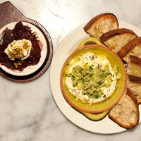 """Five favorite vegetarian meals at nonvegetarian restaurants """"The Purple Pig has a surprising amount of delicious vegetarian dishes. Whipped feta smear for sure. Their brussels. A farro dish. Beets with goat cheese and pistachios.""""—John Honkala, ChicagoGluttons.com Andrea Bauer"""