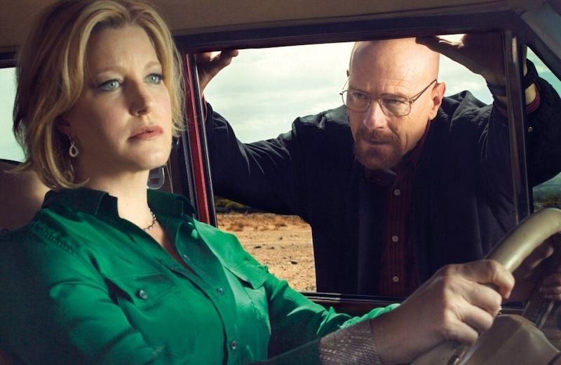 Anna Gunn (left) as Skyler White on Breaking Bad