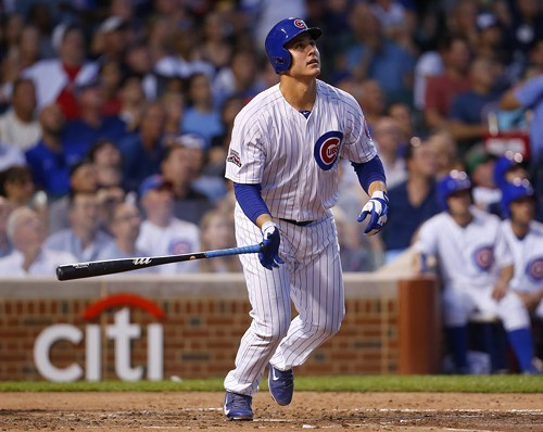 Anthony Rizzo watches his 24th homer leave Wrigley Field In the third inning Tuesday night against the Padres. Four innings later, he hit his 25th.