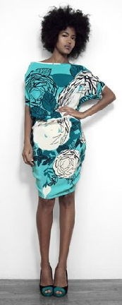 Aqua multi-rose print button shoulder dress by Falls, featured at Florodora on Friday