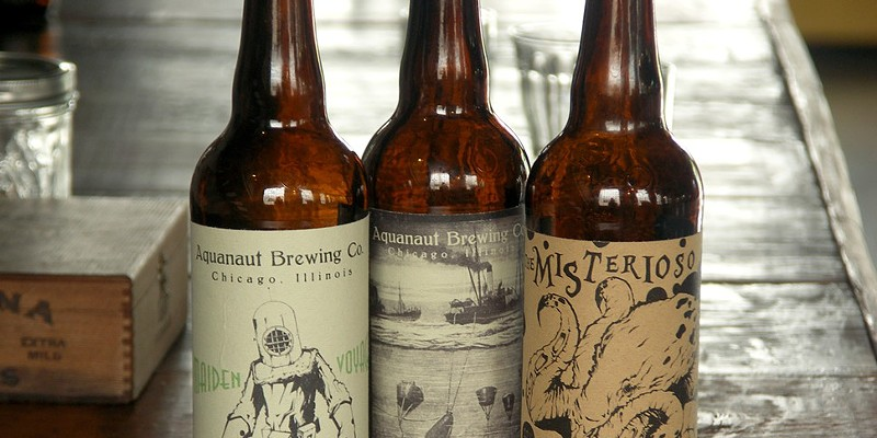 Aquanaut's three regular-rotation beers will debut in cans, not bombers, so these labels are provisional.