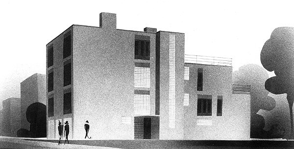 Architect's sketch of Keck-Gottschalk-Keck Apartments