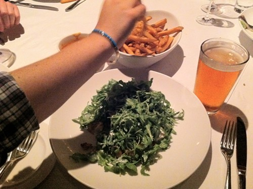 Arugula-and-potato salad goes very well with beer. Then again . . .