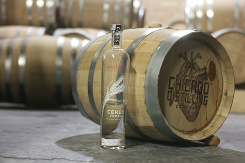 Barrel-aged vodka, still in the barrel at Chicago Distilling Company