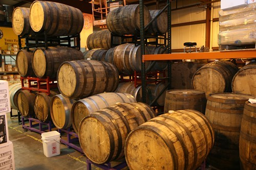 Barrels of Dark Lord aging at Three Floyds