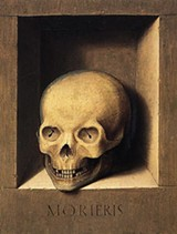"Barthel Bruyn, the Elder - German, 1493 - 1555 - ""Portrait of a Man/A Skull in a Niche"" ca. 1535-55, oil on panel"