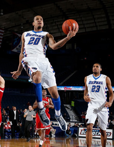 Blue Demons point guard Brandon Young, left, is known for playing fearlessly. Center Donnavan Kirk, who was out for a large chunk of last season, is an elite shot blocker.