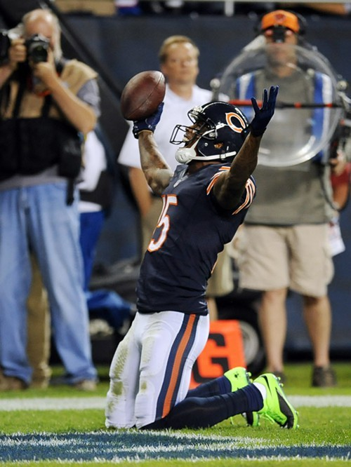 Brandon Marshall celebrates a second-quarter touchdown last night.