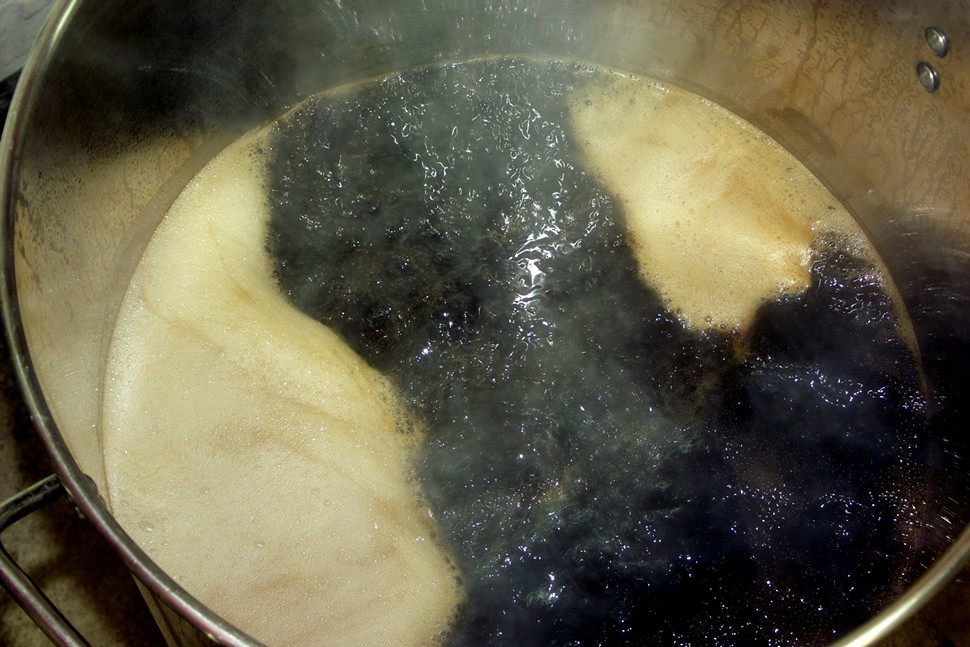 By the end of the boil, this inky wort had reached an original gravity of 1.094, or 22.5 degrees Plato.