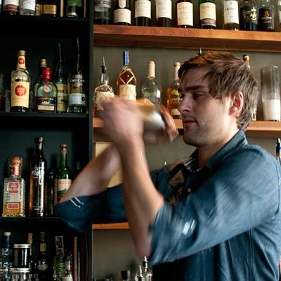 Duchamp mixologist  Kris von Dopek, working with nopales