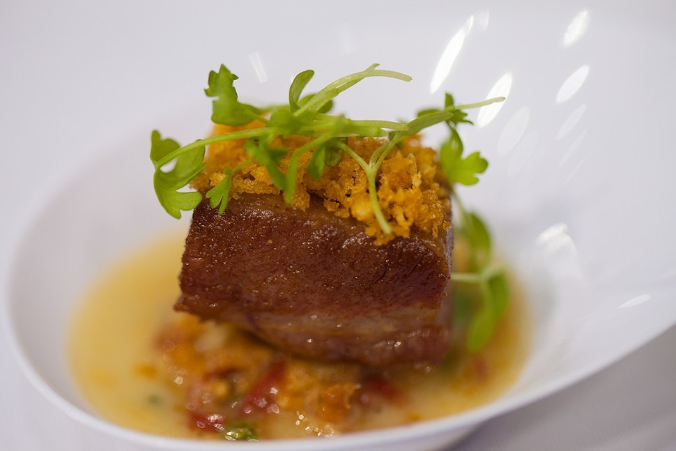 Caramelized bacon with clams casino broth, Michael Jordans Steakhouse