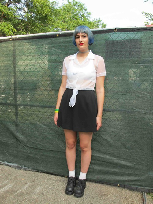 Carol Ann. Came to see: Slowdive and Grimes. Why this outfit? Im really into monochromatic, especially having really bright hair. Id love a total white outfit but thats totally not doable at Pitchfork.