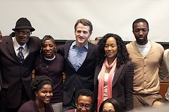 Cast of The Wire plus, from left, Donnie Andrews and Fran Boyd at a Harvard seminar last year