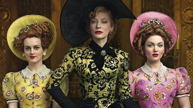 Cate Blanchett (center) in Cinderella; the magisterial costumes are by Sandy Powell