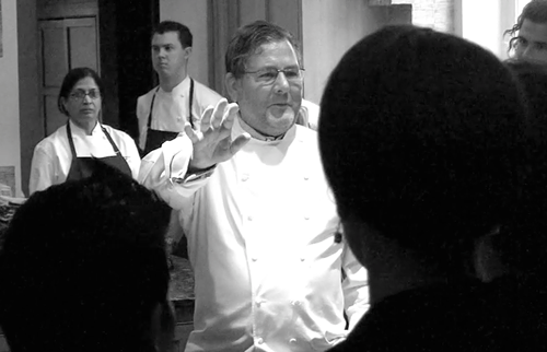 Charlie Trotter addressing staff at one of his farewell dinners in 2012.