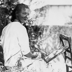 Charlotte Salomon painting in the garden in at the Villa L'Ermitage, Villefranche-sur-Mer, France, 1939