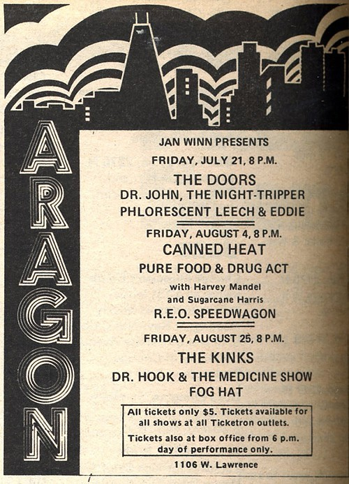 Chicago Reader @ Forty ads from the past: Aragon, 1106 W. Lawrence
