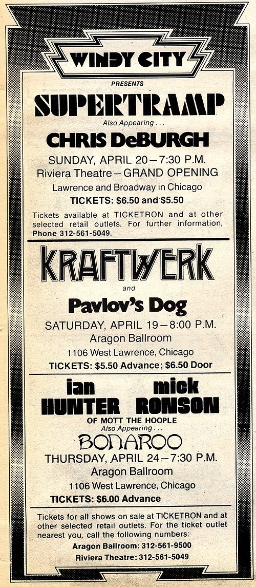 Chicago Reader @ Forty ads from the past: Kraftwerk