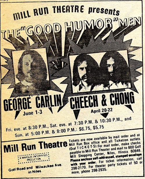 Chicago Reader @ Forty ads from the past: Mill Run Theatre, Carlin, Cheech & Chong