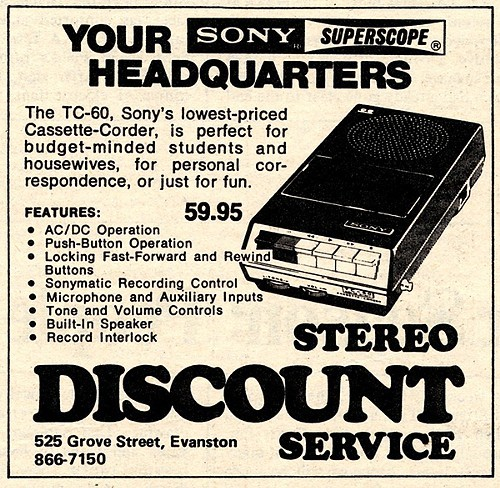 Chicago Reader @ Forty ads from the past: Stereo Discount Service, Evanston