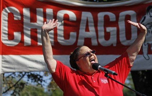 Chicago Teachers Union president Karen Lewis--shown here in 2012--has suspended her mayoral campaign to address health problems. A certain political columnist is hoping she can still give Mayor Emanuel fits.