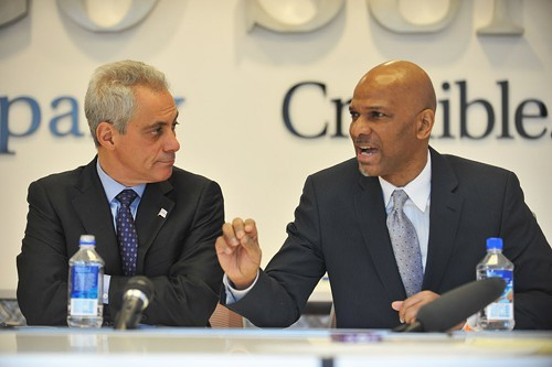 Chicagos segregated black neighborhoods are suffering, Bill Dock Walls said Friday during a debate at the Sun-Times. Mayor Emanuel was not asked to respond.