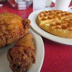 Chicken and waffles at Five Loaves