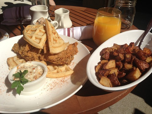 Chicken and waffles with hash browns