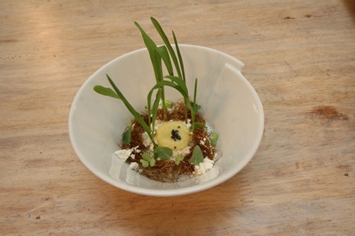 Chilled corn soup with goat cheese, fried corn hairs, shiso and sorrel garnish with corn sprouts