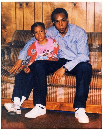 Clements with his daughter in the visitation room at Stateville prison, circa 1988.