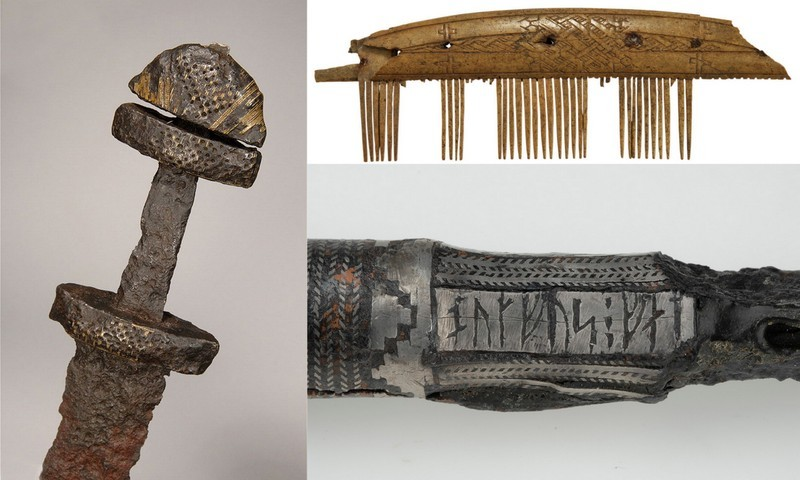 Clockwise from left: A sword hilt and pommel, a comb made of antler, a silver coated spearhead that says (in runes) Rane owns this spearhead. Botfus carved it.